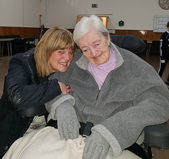 Pelton Grange Care Home resident Margaret Carr (right) with her daughter Christine Mordue at a dementia friendly screening of Mamma Mia!.