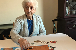 Resident Audrey Glinsky taking part in National Pie Day activities at Halton View Care Home.