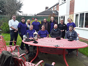 BT staff volunteering at a Teesside care home