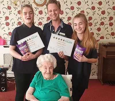 Chris, Hannah and Molly with their work experience week awards