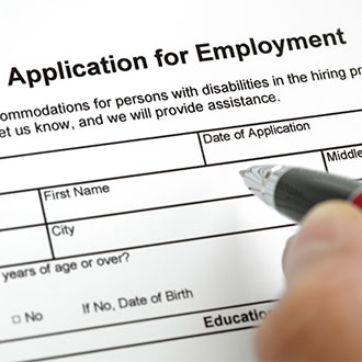 DBS check - a job application form