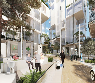 MMC - Agile Ageing Alliance's vision of Neighbourhoods of the Future, with tower blocks and outdoor communal areas