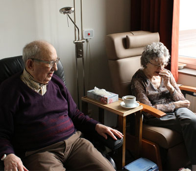 Elderly couple in care home