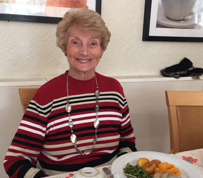 Borough Care Resident Trying Food From New Menus