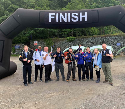 Orchard Care Homes care staff at the finish line of Mount Snowdon