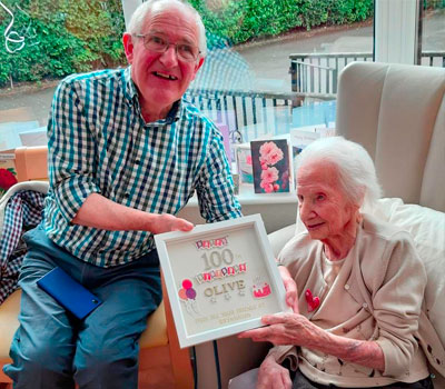 Olive celebrating her 100th birthday at Bryn Haven