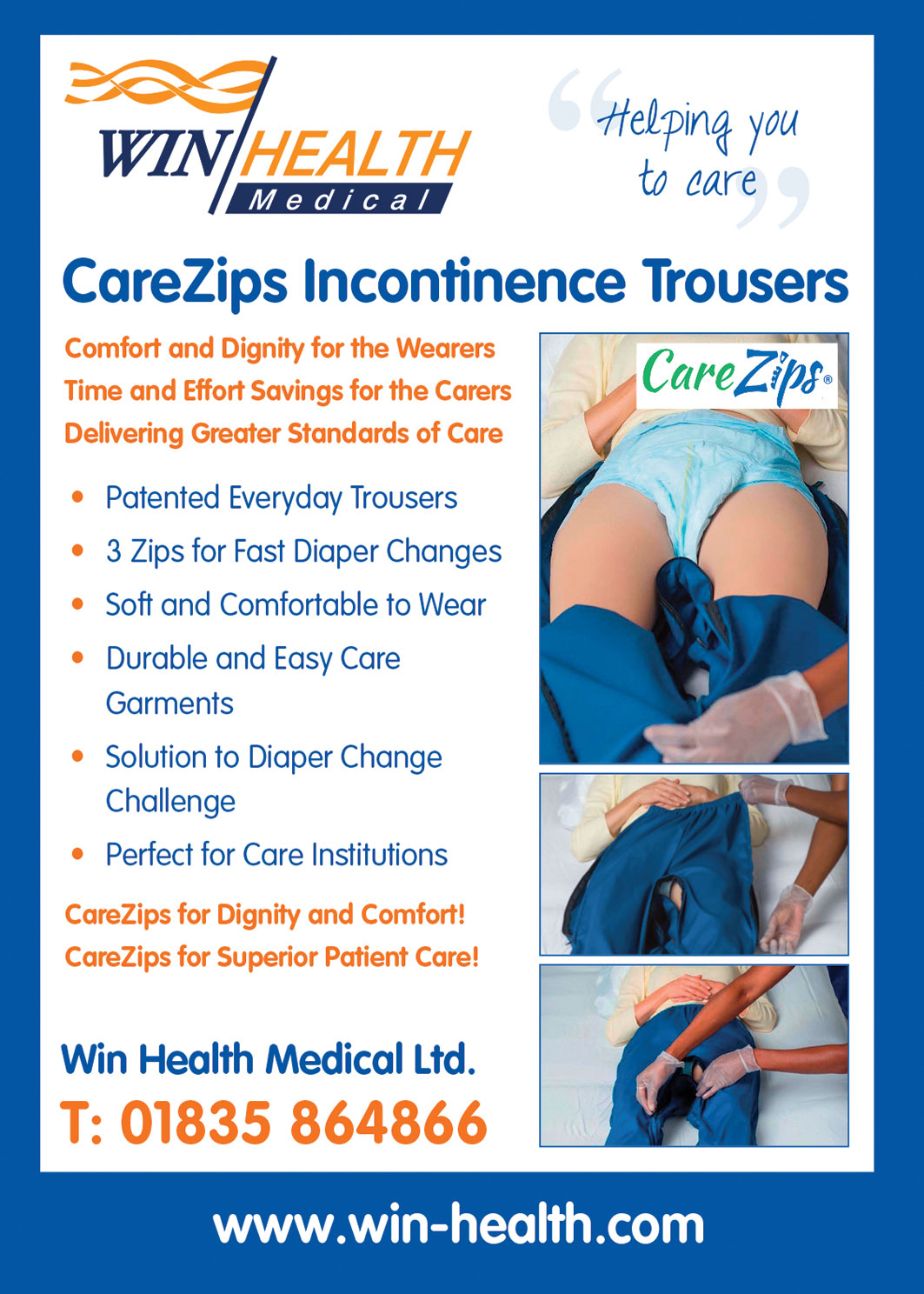Win Health Medical CareZips Incontinence Trousers