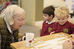 School pupil visiting care home