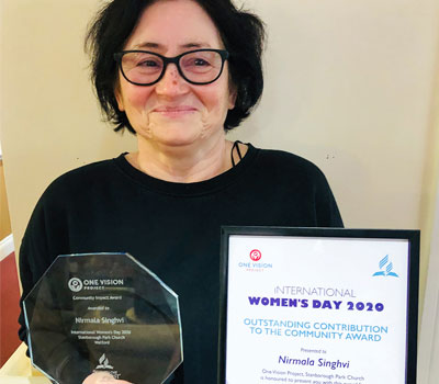 Nirmala Singhvi from Victoria House care home is awarded Community Award on International Women's Day