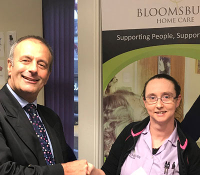 Local Care Worker receiving health and social care technology group reward