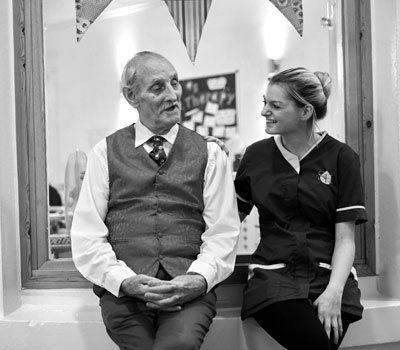 skills for care - social care - an elderly man with carer